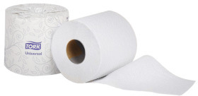 "Picture of item 887-618 a Tork  Universal Bath Tissue Roll .  2-Ply Embossed. 3.8"" X 4"" Sheet. 616 Sheets per roll."