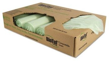 Picture of item HER-Y6039EE a BioTuf Compostable Can Liners. 0.88 mil. 30 gal. 30 X 39 in. Light Green Color. 150 count.