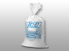 Picture of item 311-405 a Printed Metallocene Ice Bag with Stock Print. 20 lb. 13.5 X 28 in. 1.75 mil. 500 count.