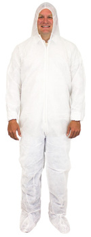 The Safety Zone ® White Coveralls with Hood and Boots.  X-Large Size 25/Case.