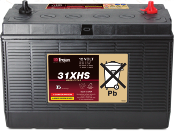 Picture of item 963-553 a Trojan Model 31XHS Deep Cycle Flooded/Wet Lead-Acid 12 Volt Battery. 12.97 X 6.75 X 9.58 in.
