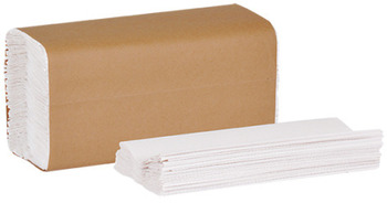 "Picture of item 869-509 a Tork Universal C-Fold Hand Towel. 2400/cs 10.1"" X 12.8"" Natural White Embossed 1-Ply."