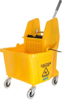Picture of item 964-283 a Flo-Pac® Mop Bucket with Down Press Wringer. 20.5 X 16.5 X 16.5 in. 35 qt. Yellow.