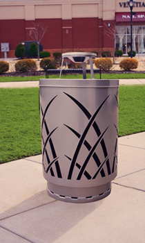 Picture of item 963-603 a Sawgrass Outdoor Receptacle with Rain Cap. 40 gal. Silver.