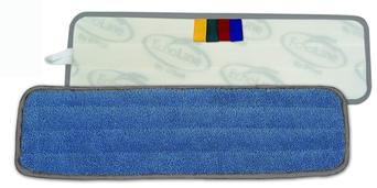 "Picture of item 963-611 a O'Dell 5"" x 24"" Blue Microfiber Wet Pad with Gray Binding."