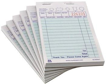"Picture of item 196-203 a Guest Checks, Green 1 Part Booked 14 Lines, 3.5"" x 5.125"".  100 Checks/Book, 100 Books/Case."