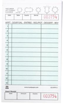 "Picture of item 196-202 a Guest Checks, Carbonless Green 2 Part Loose 13 Lines, 4.2"" x 7.75"", 250 Checks/Pack, 8 Packs/Case."
