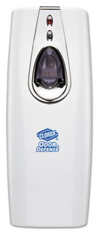 Picture of item CLO-31793 a Clorox Odor Defense Wall Mount Dispenser. 3.38 X 3.56 X 9 in. White