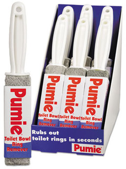 Picture of item UPM-JAN6 a Pumie Toilet Bowl Ring Remover with Handle. Gray. 6 count.