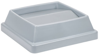 "Picture of item 562-117 a Continental T1700GY 16"" Gray Square Tip Top Lid for 25 and 32 Gallon Swingline Containers"