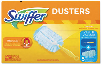 "Picture of item PGC-11804 a Swiffer® Dusters Starter Kit, Dust Lock Fiber, 6"" Handle, Blue/yellow, 6/carton"