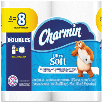 Picture of item PGC-13258 a Charmin® Ultra Soft Bathroom Tissue, 2-Ply, 4 X 3.92, 142 Sheets/Roll, 4 Rolls/Pack, 12 Packs/Case