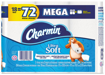 Picture of item PGC-99862 a Charmin® Ultra Soft Bathroom Tissue, 2-Ply, 4 X 3.92, 284 Sheets/roll, 18 Rolls/Pack