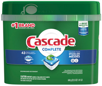 Picture of item PGC-98208 a Cascade® Complete ActionPacs® Dishwasher Packs. 22.5 oz tub. Fresh Scent. 43 Packs/Tub, 6 Tubs/Case.