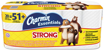 Picture of item PGC-96896 a Charmin® Essentials Strong Bathroom Tissue, 1-Ply, 4 X 3.92, 300/roll, 20 Roll/Pack