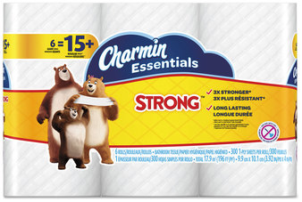 Picture of item PGC-96892 a Charmin® Essentials Strong Bathroom Tissue, 1-Ply, 4 X 3.92, 300/roll, 6 Rl/pk, 8 Pk/Case