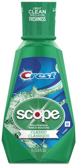 Crest® + Scope Mouth Rinse, Classic Mint, 1 Liter Bottle, 6 Bottles/Case.