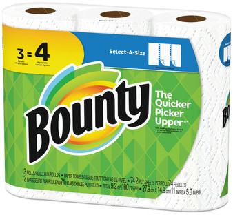 "Picture of item PGC-76225 a Bounty® Select-a-Size Paper Towels, 2-Ply, White, 5.9"" x 11"", 74 Sheets/Roll, 3 Rolls/Pack, 8 Packs/Case"