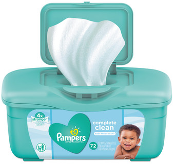 Picture of item PGC-75476 a Pampers® Complete Clean Baby Wipes, 1 Ply, Baby Fresh, 72 Wipes/Tub, 8 Tubs/Case.
