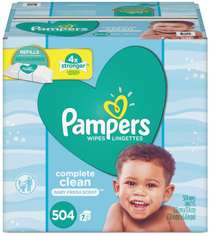 Picture of item PGC-75473 a Pampers® Complete Clean Baby Wipes, 1 Ply, Baby Fresh, 504/Pack