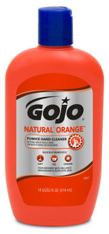 Picture of item 670-130 a GOJO® NATURAL ORANGE™ Pumice Hand Cleaner. 14 fl oz. Citrus scent. 12 Bottles/Case.