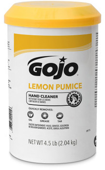 Picture of item 670-108 a GOJO® Waterless Creme Pumice Hand Cleaner. 4.5 lb. Lemon scent. 6 count.