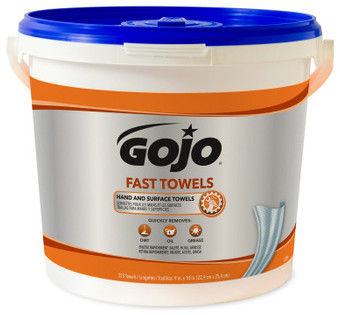 Picture of item GOJ-6299 a GOJO® Fast Towels® Hand Cleaning Towels. 10 X 9 in. Fresh Citrus scent. White. 2 buckets (255 towels per bucket).