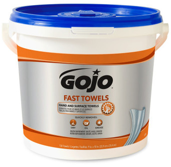 Picture of item 670-099 a GOJO® Fast Towels® Hand Cleaning Towels. 10 X 9 in. Fresh Citrus scent. White. 4 buckets (130 towels per bucket).