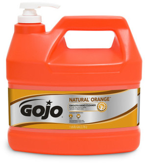 Picture of item 968-723 a GOJO® NATURAL* ORANGE™ Smooth Hand Cleaner. 1 Gallon. 4 Gallons/Case.