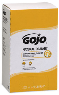 Picture of item 968-334 a GOJO® NATURAL ORANGE™ Smooth Hand Cleaner Refill. 2000 mL. Citrus scent. 4 Refills/Case.