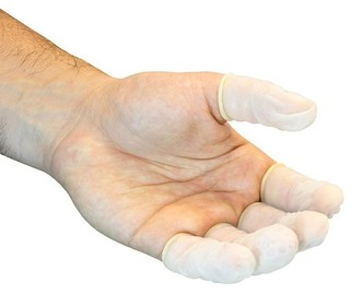 Picture of item 963-705 a Powder Free Latex Finger Cots. Size Large. White. 28,800 count.