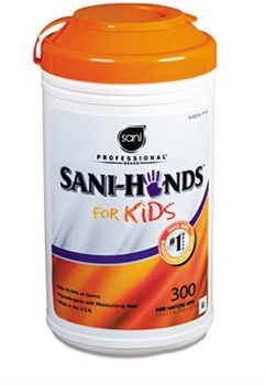Picture of item 966-337 a Sani Hands for Kids Hands Instant Sanitizing Wipes for Kids, 5 x 7 1/2, White, 300/Pk, 6 Pks/Ct