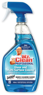 Picture of item PGC-81308 a Mr. Clean Pro Glass and Multi-Surface Cleaner with Scotchgard Protector, Apple, 32 oz Spray Bottle, Ready-To-Use, 6/Case.