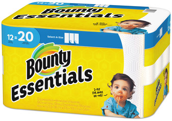 Bounty Essentials Select-A-Size Paper Towels, 2-Ply, 104 Sheets/Roll, 12 Rolls/Case