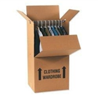 Wardrobe Box Printed with Arrows and Room Locator Check-Off Box. 23 3/4 X 20 1/2 X 46 1/8 in.