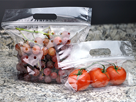 Vented Produce Pouches with Seal Top Closure. 9.5 X 10 + 3.75 BG (bottom gusset) in. Clear. 250 count.