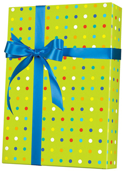 GIft Wrap, Cutter Box Roll. 24 in. X 100 ft. Party Dots pattern.
