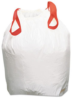 Picture of item BWK-1DK100 a Boardwalk® Drawstring Low-Density Can Liners. 0.8 mil. 13 gal. 24.5 X 27.4 in. White. 100 count.
