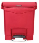Picture of item RCP-1883563 a Rubbermaid® Commercial Slim Jim® Resin Front Step Style Step-On Container. 4 gal. Red.