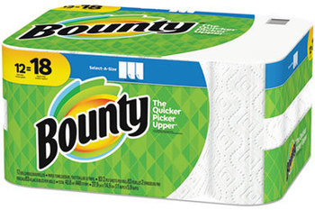 Picture of item PGC-74850 a Bounty Select-a-Size Paper Towels, 2-Ply, White, 5.9 x 11, 83 Sheets/Roll, 12 Rolls/CT