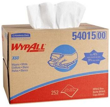 WYPALL* X60 Wipers in Brag Box. 12.5 X 16.8 in. White. 252 wipes.