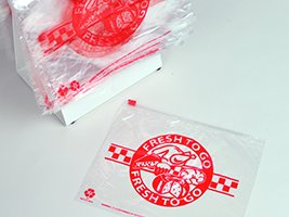 "Slide Seal Saddle Pack Deli Bags with Red ""Fresh to Go"" print. 1.2 mil. 10 X 8 in. Clear. 1000 count."