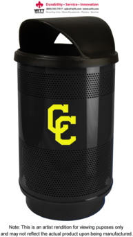 Picture of item 963-760 a Witt Stadium Series® Standard Collection Receptacle with Custom Logo and Hooded Top. 35 gal. Black. Plastic Liner, Hooded Top
