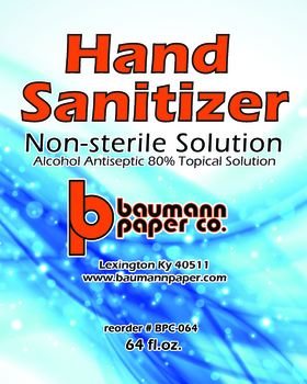 Picture of item BPC-064 a Hand Sanitizer. Liquid Alcohol Antiseptic, 80%. 1/2 Gallon Bottle (64 oz). Limited Run.