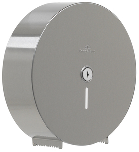 Georgia-Pacific 1-Roll Sr. Jumbo High-Capacity Stainless Steel Toilet Paper Dispenser.