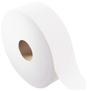 "Picture of item NPS-208 a Merfin® Exclusive 2-Ply Jumbo Bath Tissue 9"" Diameter.  2.3"" Core. 2-Ply. 3.5"" x 9"" Sheet. 1125 Feet/Roll, 8 Rolls/Case."