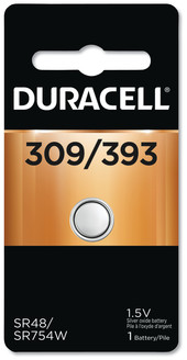 Picture of item DUR-D309393 a Duracell Button Cell Battery, 309/393, 1.5V
