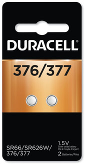 Picture of item DUR-D377B2 a Duracell Button Cell Battery, 376/377, 1.5 V, 2/Pack.