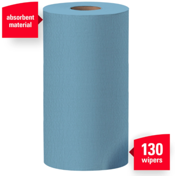 "WYPALL* X60 Wipers.  Small Roll.  9.8"" x 13.4"" Wiper.  Blue Color.  130 Wipers/Roll, 12 Rolls/Case."