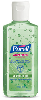 PURELL® Advanced Hand Sanitizer Soothing Gel with Aloe in Portable Flip Cap Bottle. 4 fl oz. 24 Bottles/Case.